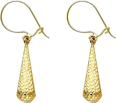 14K Two Tone Gold Hollow Teardrop Hanging Shepherds Hook Earrings Ioka