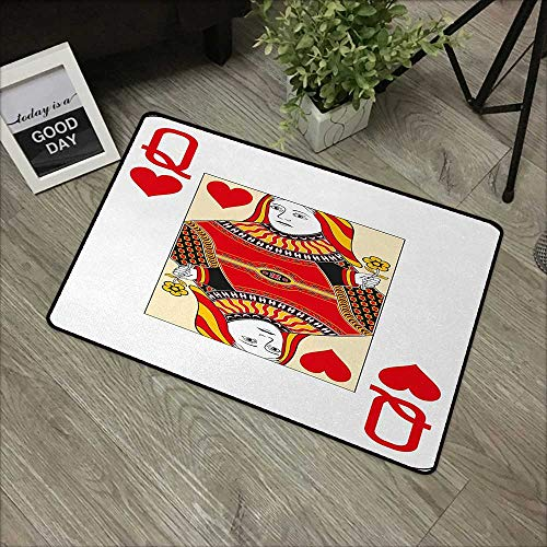 Clear printed pattern door mat W16 x L24 INCH Queen,Queen of Hearts Playing Card Casino Design Gambling Game Poker Blackjack,Vermilion Yellow White Easy to clean, easy to fold,Non-slip Door Mat Carpet