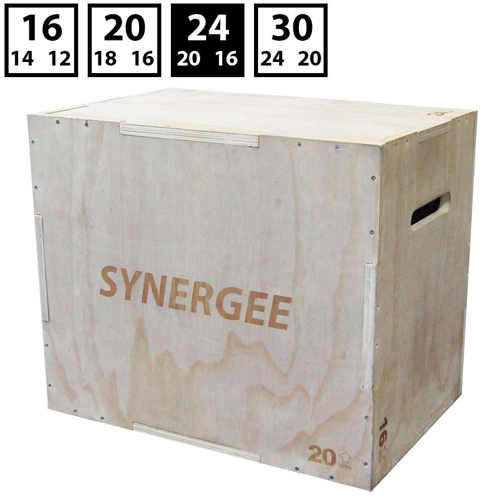 Synergee 3-in-1 hölzerne Plyometrie-Box für Sprungübungen und Training. Hölzerne Ply-Box Alles-in-Einem Jump-Trainer Größen: 30/24/20, 24/20/16, 20/18/16, 16/14/12