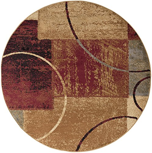 Tacoma Contemporary Abstract Multi-Color Round Area Rug, 8' Round - Contemporary Multi Color Area Rugs