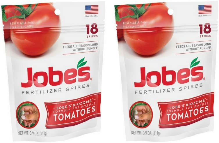 Jobe's Tomato Fertilizer Spikes 6-18-6 Time Release Fertilizer, 18 Spikes per Resealable Waterproof Pouch (2-Pack)