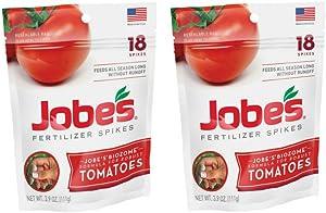 Jobe's Tomato Fertilizer Spikes 6-18-6 Time Release Fertilizer, 18 Spikes per Resealable Waterproof Pouch (2-Pack)