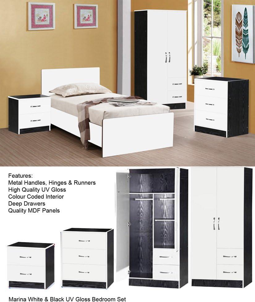MARINA ULTRA HIGH GLOSS 3 PIECE TRIO BEDROOM SETS FURNITURE UNITS (WHITE GLOSS & BLACK ASH)