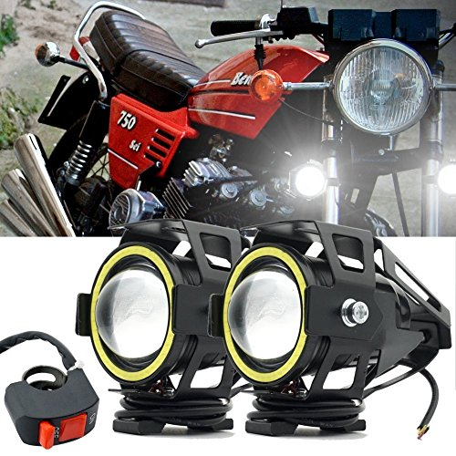 Motorcycle Headlight,U7 LED Spotlight Fog Lights DRL Auxiliary Driving Lights White Halo Ring Hi/Low Beam Strobe With Switch (Strobe Light Auxiliary Mini)