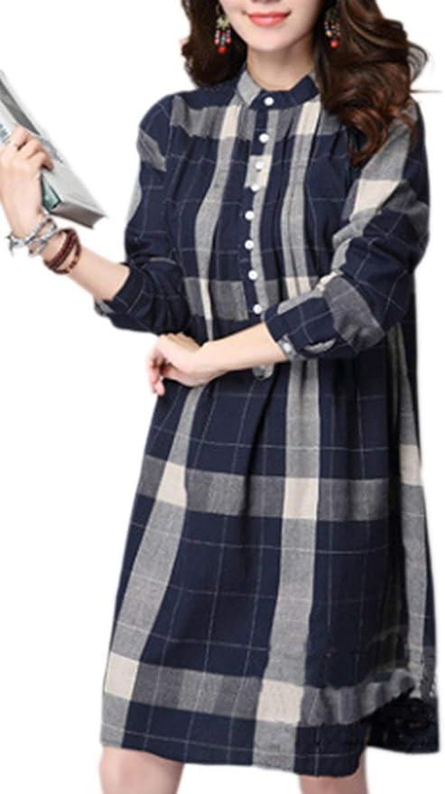 BOLAWOO Blusas Mujer Primavera Otoño Camisa De Leñador Mode De Marca Cómodo Manga Larga Camisas Casuales A Cuadros Irregularmente Botonadura Shirts Tops: Amazon.es: Ropa y accesorios