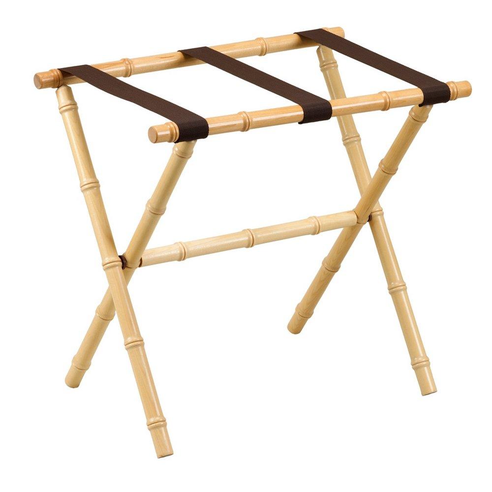 Gate House Furniture Bamboo Inspired Series Nylon Wood Luggage Rack, Natural/Brown