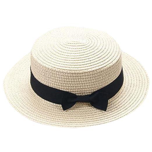 5d94ea66 Amazon.com: Children Girls Straw Bowler Derby Hat Round Flat Brim Boater Cap  (Beige): Clothing