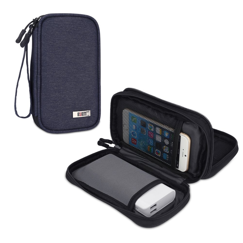 BUBM Travel Electronics Organizer, Carrying Pouch for Power Bank, Phone, Wall Charger, USB Cables and Other Phone Accessories, Dark Blue