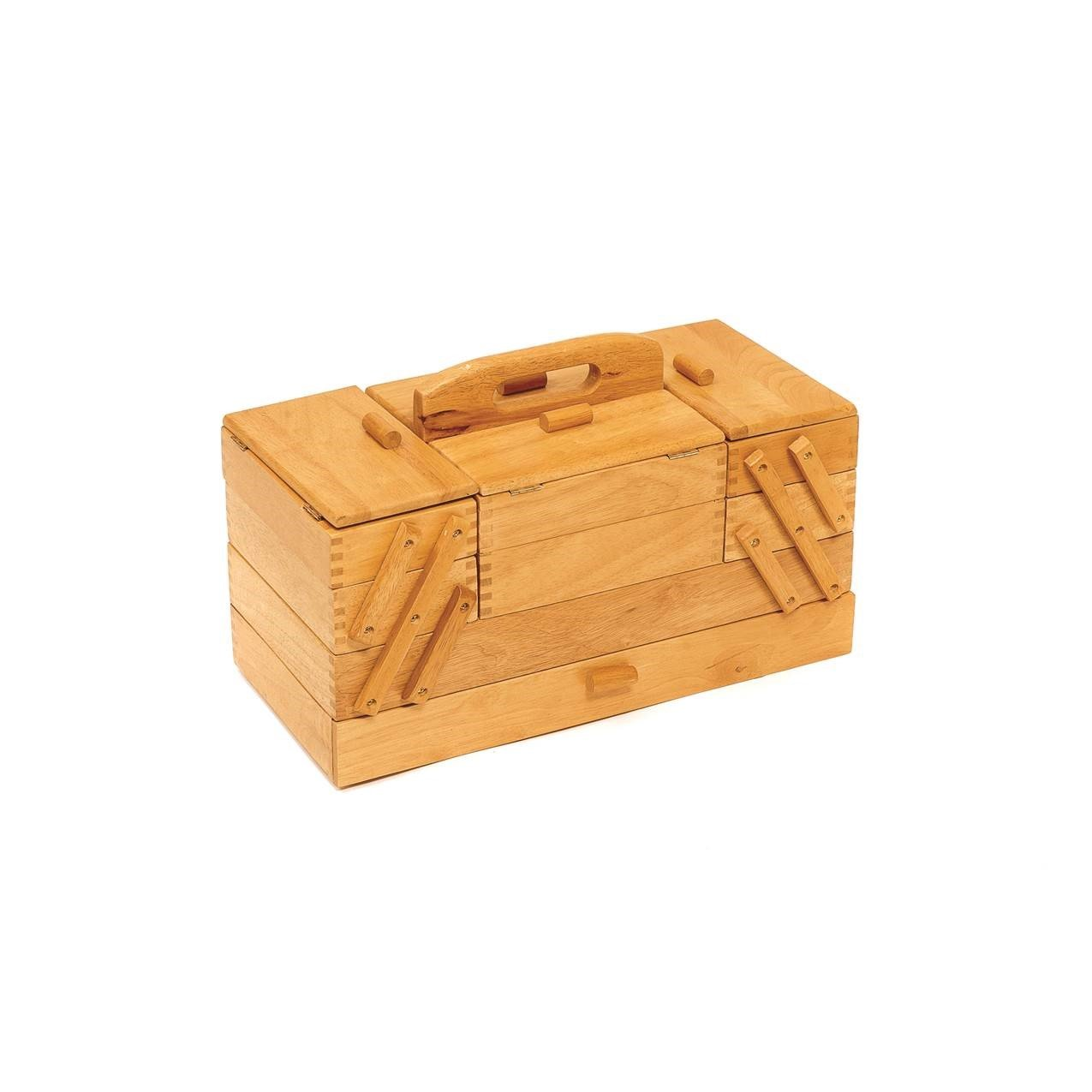 HobbyGift GB9590 Vintage Wood Cantilever Sewing Storage Box 23½ x 45 x 32cm Groves