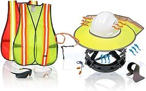 KwikSafety (Charlotte, NC) TORTOISE SHELL PPE KIT (18 Vents) Full Brim ANSI Hard Hat, Safety Glasses, Vests, Tool Lanyard, Sunshade, Sweatbands, Earplugs Construction PPE Gear, Type1, Class C, WHITE