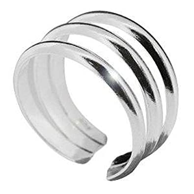 Silverly Women's .925 Sterling Silver Overlapping Plain Midi Finger Adjustable Band Toe Ring XZ9hG