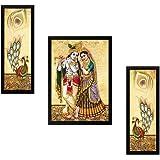 SAF Diwali Gift Frame Painting Set (Synthetic, 33 cm x 37 cm x 4 cm, Brown, Set of 3, SASASA7724)