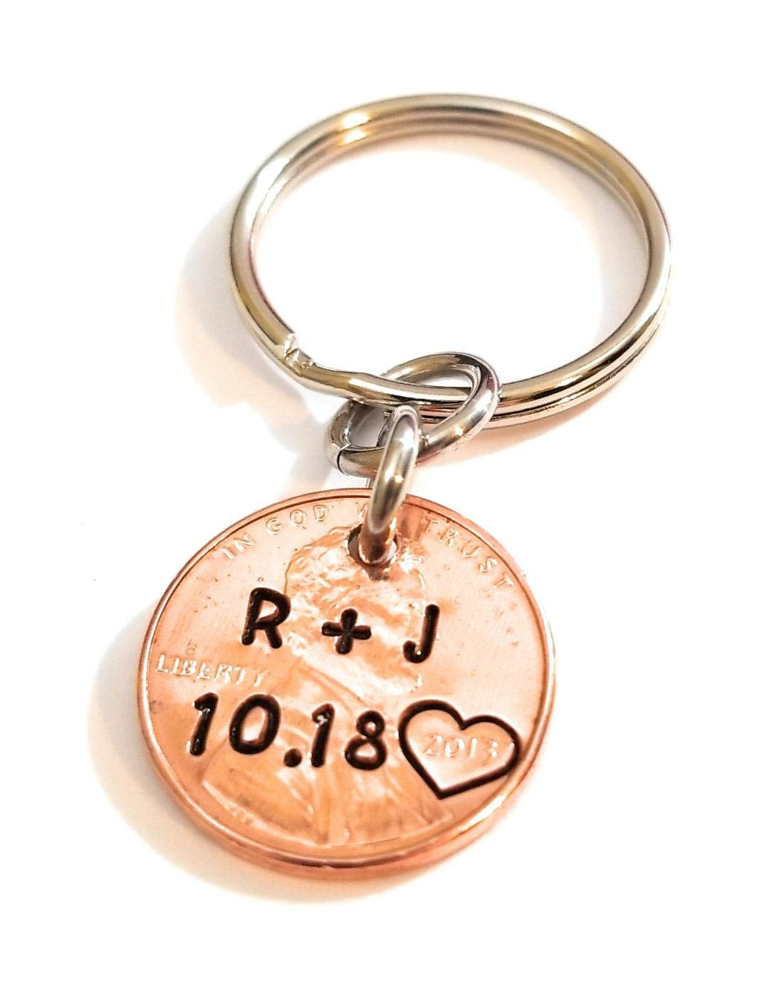 Personalized Keychain Penny Keychain Lucky Penny Gift for Men Gift for Husband Penny Anniversary Gift for Boyfriend Couples Keychain