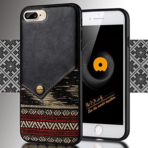 WUW Trendy Bohemian Style Leather Coated TPU Tasche Hüllen Schutzhülle Case für iPhone 7 Plus 5.5 - schwarz