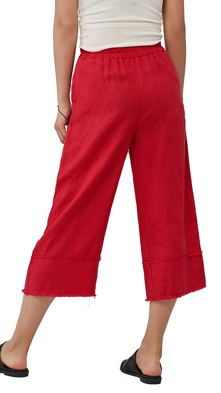Les umes Womens Casual Tassel Pants Linen Trouser Elastic Waist Capri Pants Wide Leg Pants with Pockets US 2-18