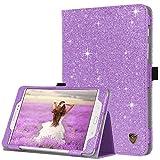 BENTOBEN - Funda para Samsung Galaxy Tab A 8.0 (función atril, con purpurina brillante, ligera, función atril, función atril, función atril, función de encendido y apagado automático), color negro, Púrpura