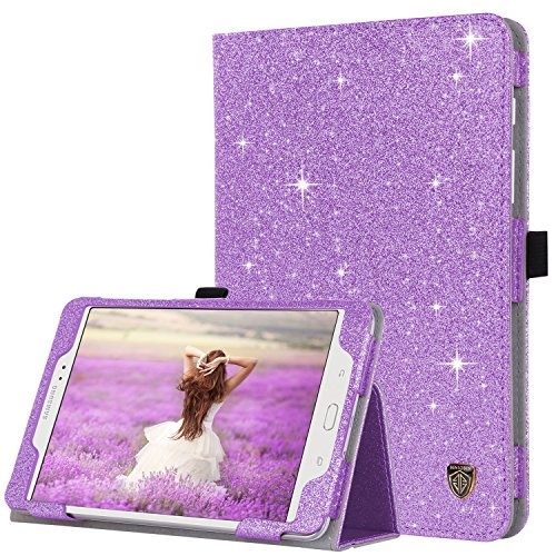 BENTOBEN Samsung Galaxy Tab A 8.0 (2015) Case, Slim Lightweight Glitter Sparkly Bling Flip Folio PU Leather Stylus Holder Auto Sleep/Wake Protective Smart Cover for Galaxy Tab A 8.0 SM-T350, Purple (Android Tablet Phone Case)