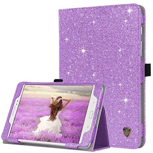 BENTOBEN Galaxy Tab A 8.0 (2015) Case, Slim Lightweight Glitter Sparkly Bling Flip Folio PU Leather Stylus Holder Auto Sleep/Wake Protective Smart Cover for Samsung Galaxy Tab A 8.0 SM-T350, Purple