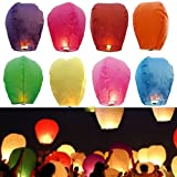 JRing 10 PCS Colorful Paper Chinese Flying Lanterns Fly Candle Lamps for Christmas, New Years Eve, Wish Party &Weddings