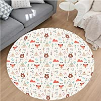 Nalahome Modern Flannel Microfiber Non-Slip Machine Washable Round Area Rug-ute Indian Primitive Fox Arrows Bear Lodge Houses Feather Graphic Cream Salmon Amber Teal area rugs Home Decor-Round 40