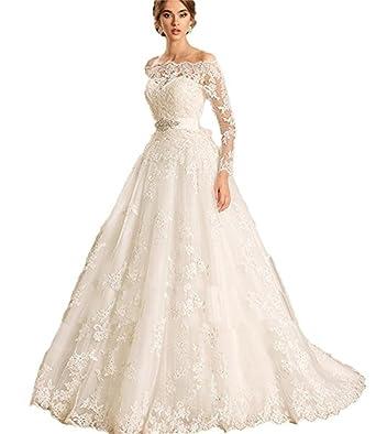 Cloverbridal Luxus Spitze Lange Ärmel Hochzeitskleid Bootshals ...