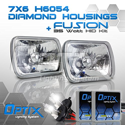 7x6 Inch Sealed Beam Headlight Conversion - fits H6054 H6052 H6014 - Clear Glass Diamond Cut Housing + H4 35W HID Xenon Kit Bi-Xenon 5000K Brilliant White Beam Headlight Conversion Diamond Cut