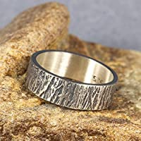 6mm Wood Bark Tree Bark Textured Rustic Oxidized Blackened Wedding Band 925 Sterling Silver Mens Women Unisex Thick Handmade Black Wedding Ring - FREE Custom Engraving