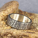 6mm Wood Bark Tree Bark Textured Rustic Oxidized Blackened Wedding Band 925 Sterling Silver Mens Women Unisex Thick Handmade Black Wedding Ring - FREE Custom Engraving