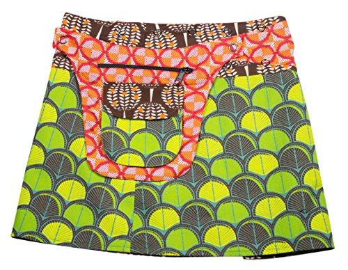 Baumwolle Verstellbar Röcke Aus Damen Abnehmbaren Sunsa Verschiedene Druckknöpfe Durch Variabel Zwei Ist Wickelrock Täschchen Rock Sommerrock Größe Einem Minirock Optisch Mit Wenderock