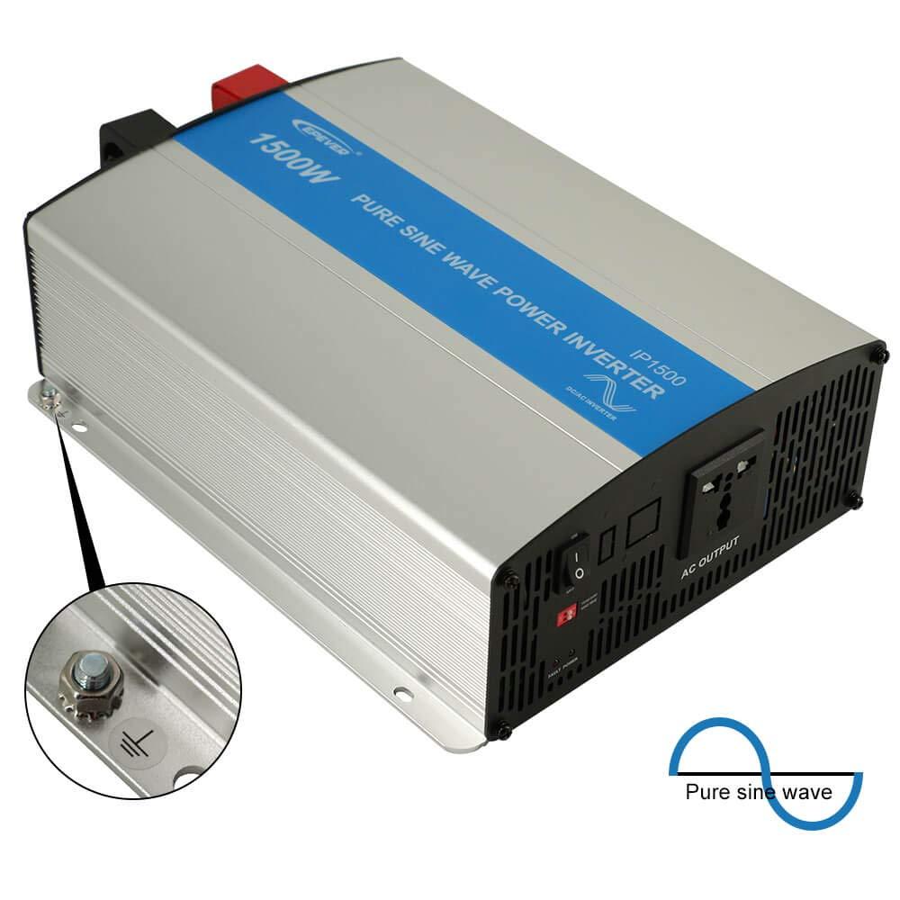 EPEVER 1500W Pure Sine Wave Inverter - 12Volt DC Input 110VAC-120VAC Output 50HZ 60HZ Solar Inverter(1500W)