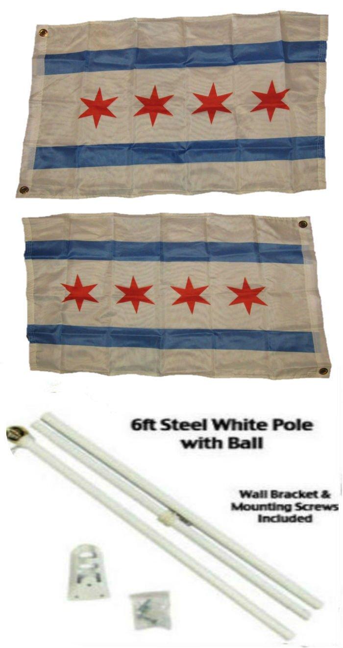 【逸品】 2 2 x 3 2 ' x3 2 ' City of ' Chicago Illinois両面2plyフラグホワイトポールキットゴールドボールトップ B01N0UZD9Z, フッツシ:eb1af805 --- tadevakaryam.com
