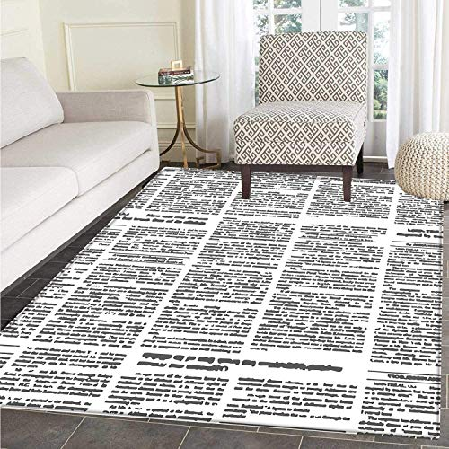 Blythe Journal (Old Newspaper Decor Rugs for Bedroom Close Up Aged Journal Page with Headings News Articles Columns Circle Rugs for Living Room Black and White)