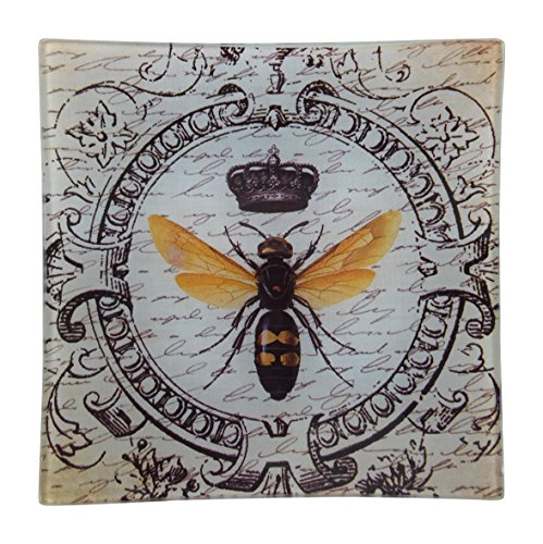 French decor square glass tray honey bee french home for Honey bee decorations for your home