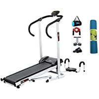 Lifeline Fitness Manual Treadmill Machine | Bundles with Twister, Pushup, Yoga Mat (6MM) and Accessories (5 Items)
