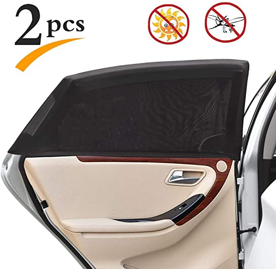 Uarter Universal Car Rear Side Window Baby Kid Pet Breathable Sun Shade Mesh Backseat (2 Pcs) Fits Most Cars/SUVs