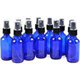 12 Pack,2oz Blue Glass Bottle Bottles with Black Fine Mist Sprayer.Refillable & Reusable.Designed for Essential Oils, Perfumes,Cleaning Products,Aromatherapy.12 Chalk Labels as gift.