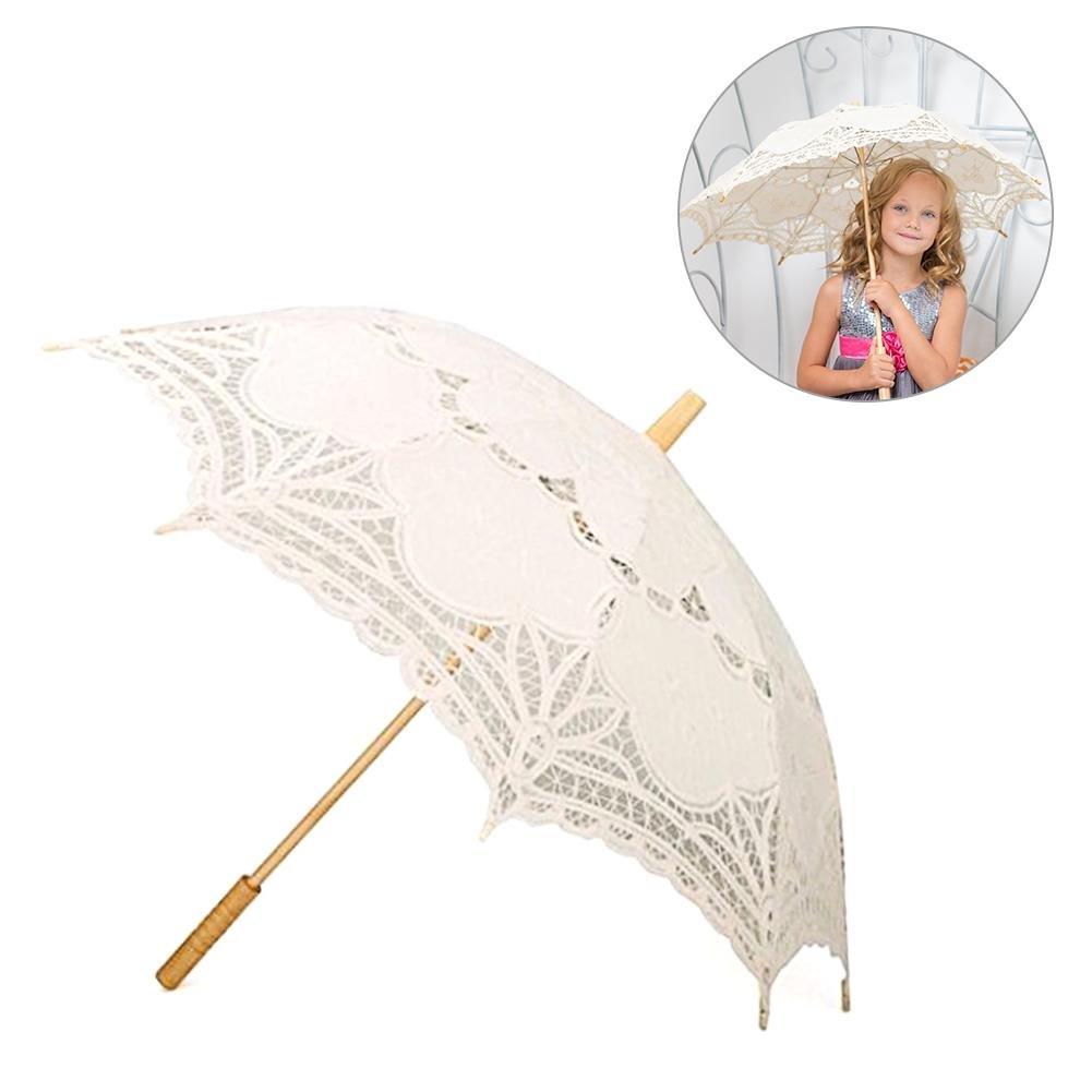 blanco Paraguas de encaje hecho a mano Battenburg bordado encaje sombrilla paraguas para novia boda Househome