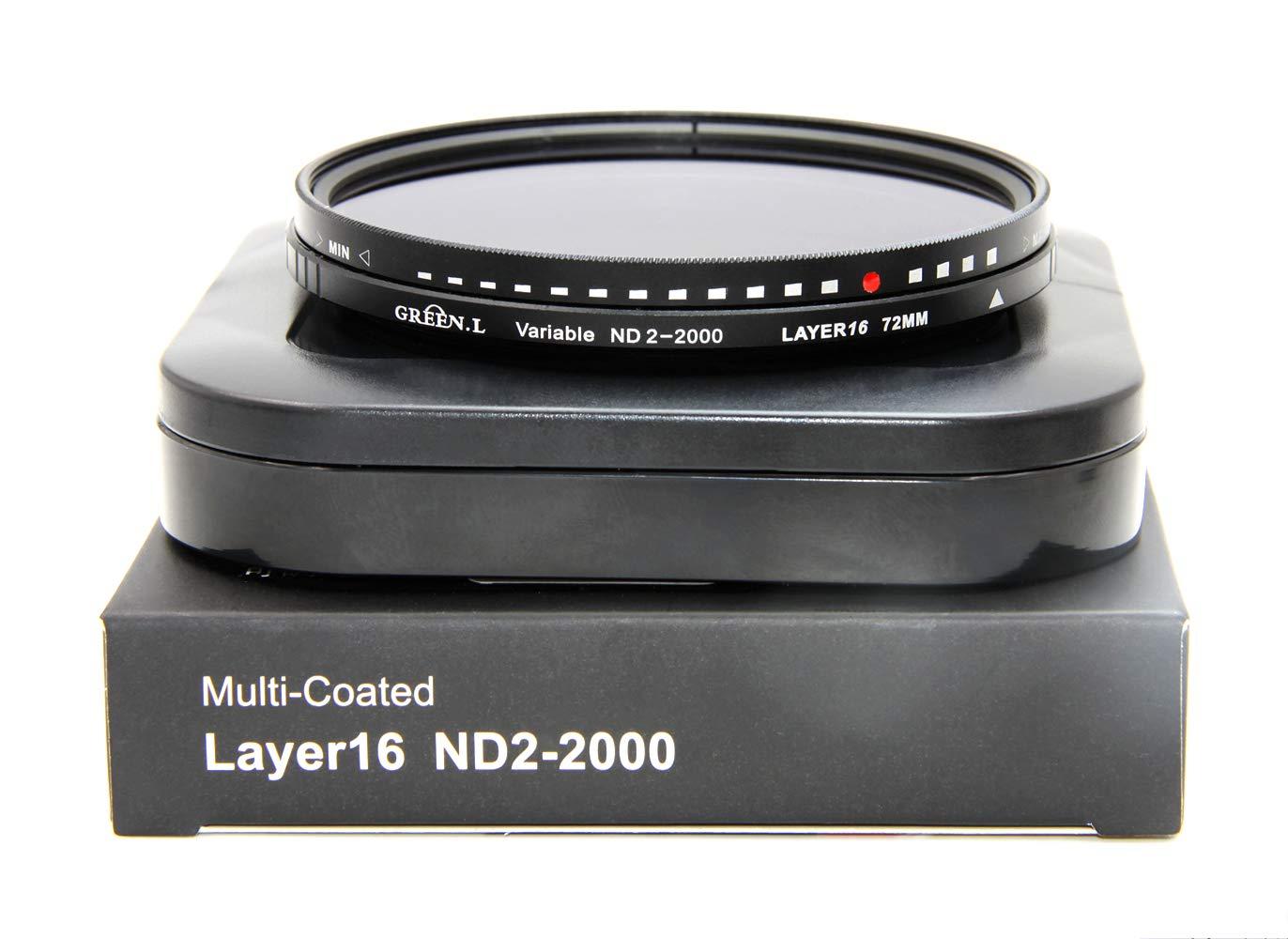GREEN.L 72mm Variable ND Filter ND2-2000 Neutral Density Filter Nano Coating MRC18-Layer Schott Optics Glass by Green-L