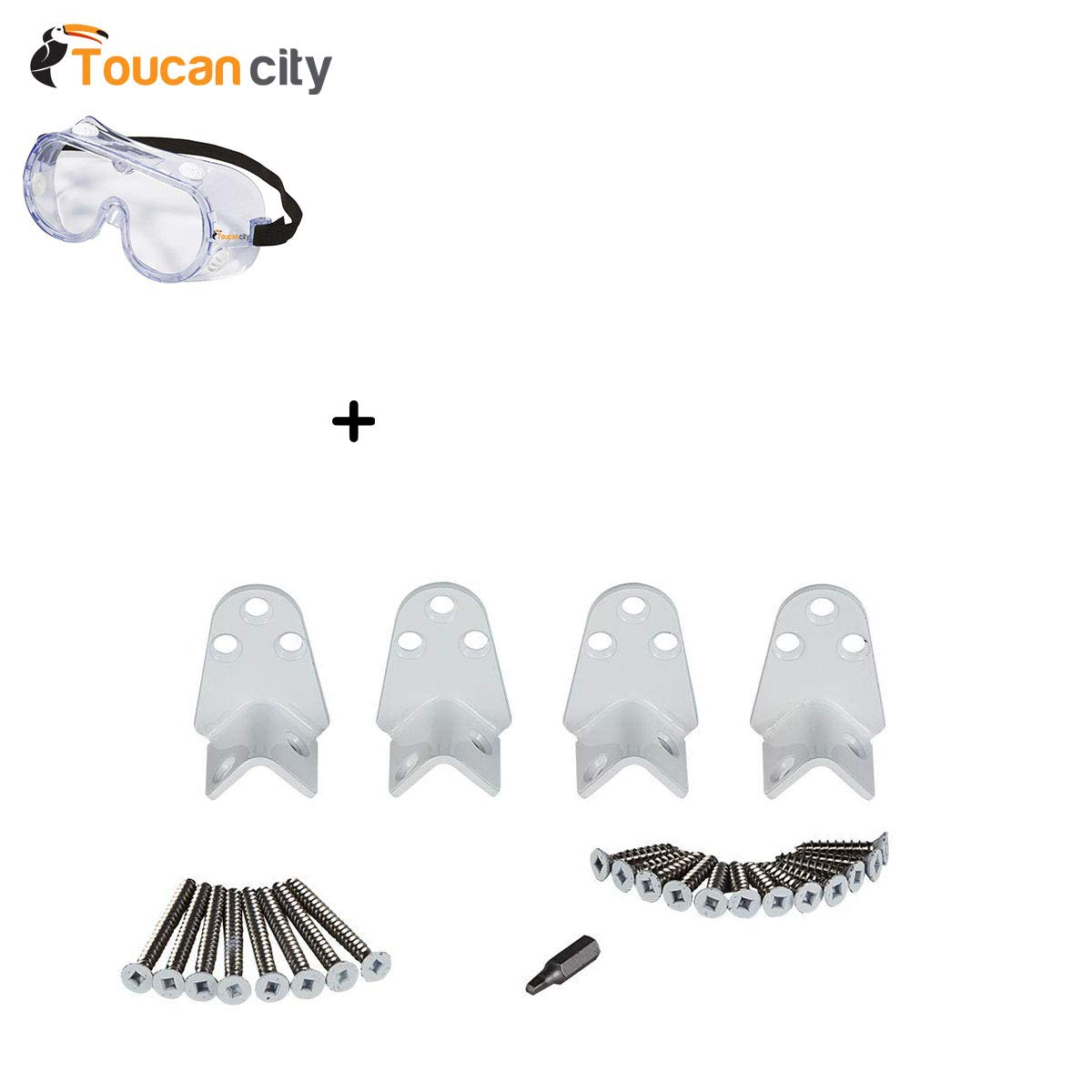 Toucan City Safety Goggles Fiberon Horizon White Stainless Steel Angle Rail Hardware Kit BKT Angle 4PK W C