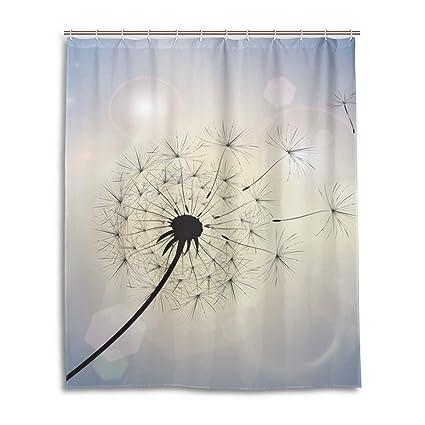 WIHVE 60quotx72quot Shower Curtain Dandelion In Summer Breeze Waterproof And Mildew Resistant