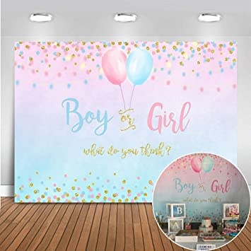 Haoyiyi 10x8ft Gender Reveal Backdrop Girl or Boy Pink Blue Baby Shower Wing Bling Photography Background Balloon Golden Glitter Retro Wood Banner Cake Table Decoration Photo Booth Props