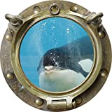 12'' Porthole Instant Ocean Window Sea View ORCA KILLER WHALE #2 ANTIQUE BRONZE Wall Sticker Kids Decal Room Home Art Décor Graphic SMALL
