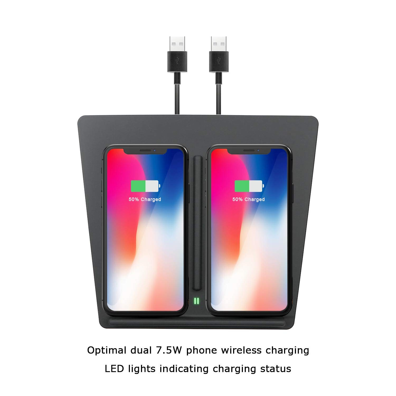 Wireless Charging Pad for Tesla Model 3 P50 P65 P80 P80D,LFOTPP Dual Phones on Board Car Accessories,Customized Phone Wireless Charger Pad Panel,All Qi-Enabled Phones