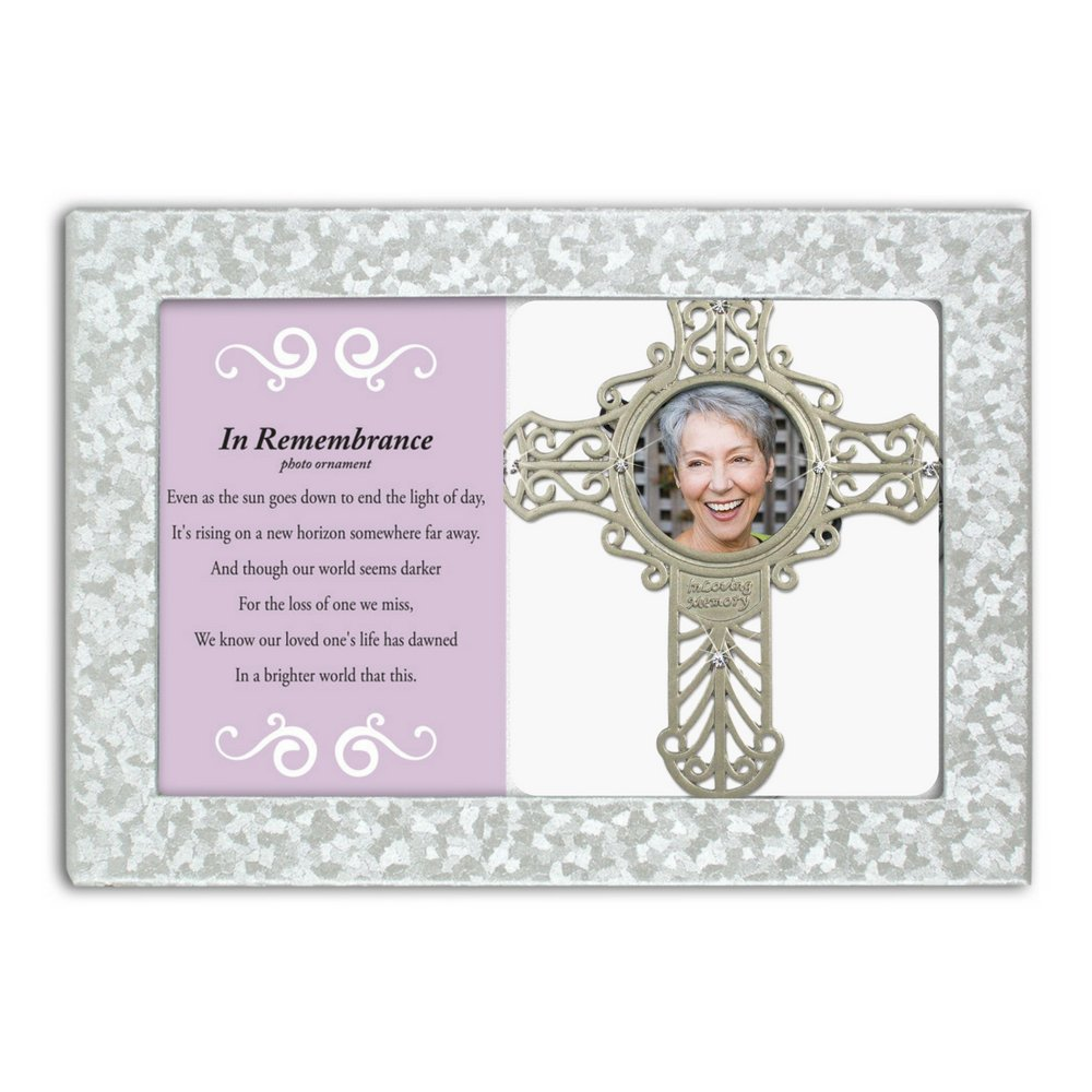 Silver Metal Filigree with Picture Opening in Memory of a Loved One 4.25 H x 4 W BANBERRY DESIGNS Memorial Cross Photo Ornament