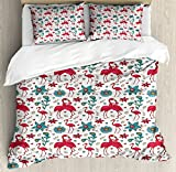 Ambesonne Flamingo Duvet Cover Set King Size, Cute Love Valentines Day Inspirations Couple Kissing Hawaii Flowers Hearts, Decorative 3 Piece Bedding Set with 2 Pillow Shams, Magenta Blue Cream