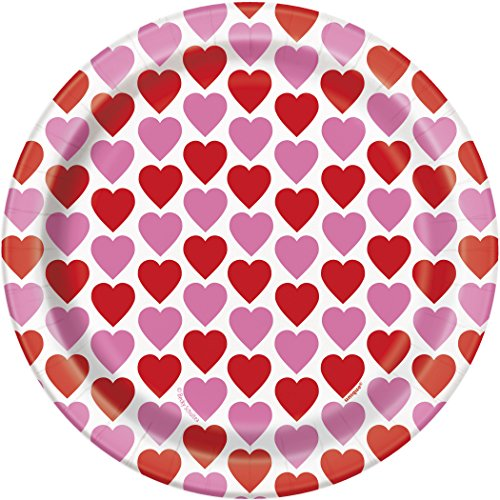 Day Chocolate Covered Strawberries (Hearts Happy Valentine's Day Dessert Plates, 8ct)