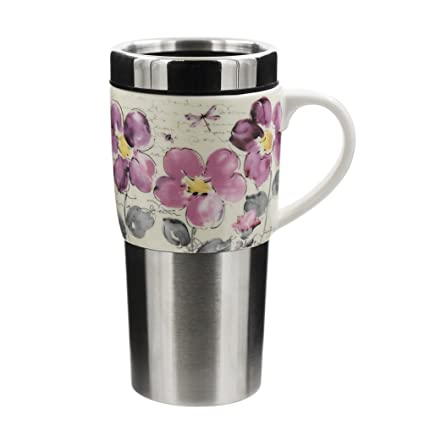 e78200e5b33 Ceramic Coffee Travel Mug Porcelain Tea Cup with Ceramic Handle 16oz,Floral