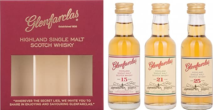 Glenfarclas Mini Tri Pack 15/21/ 25 Year Old Whisky 5 cl (Case of ...