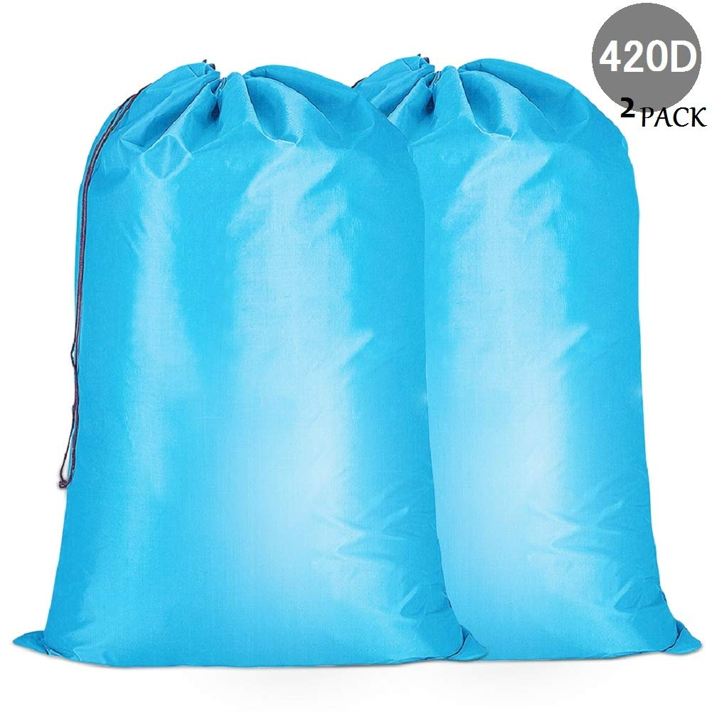 420D Nylon 120L Extra gro/ße Faltbarer 70x90CM mit Kordelzug maschinenwaschbar (blau) SUN KIS W/äschesack