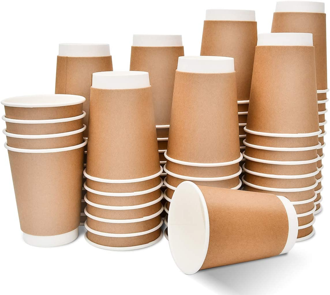 Disposable Coffee Cups 100 Count 12oz Double insulated Kraft Paper Hot Drink Cups To Go for Office Parties Home Travel